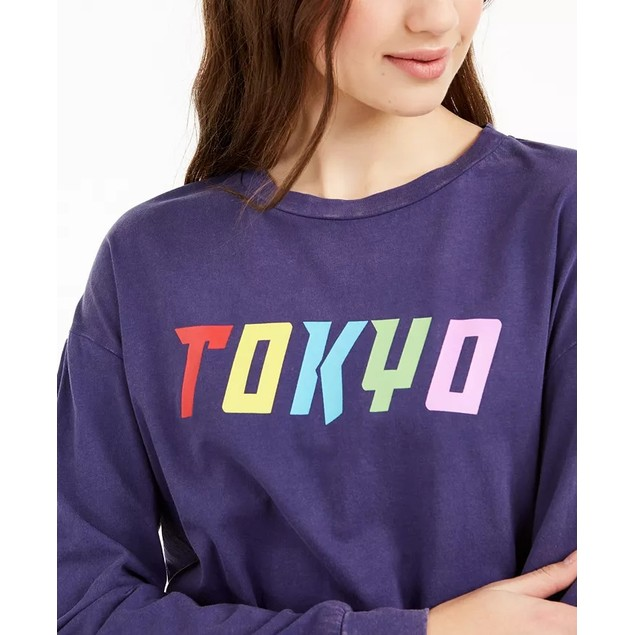 Rebellious Women's One Juniors' Tokyo Graphic T-Shirt Blue Size Large