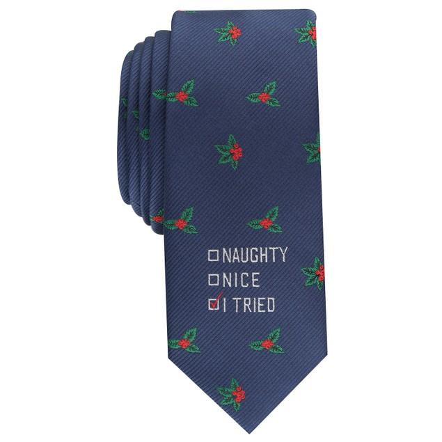 Bar III Men's I Tried Skinny Holiday Tie Navy Size Regular