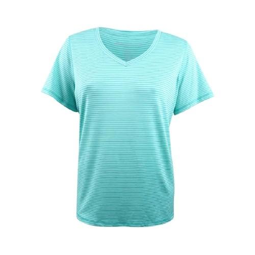 Ideology Women's Striped V-Neck T-Shirt Laguna Size Extra Small