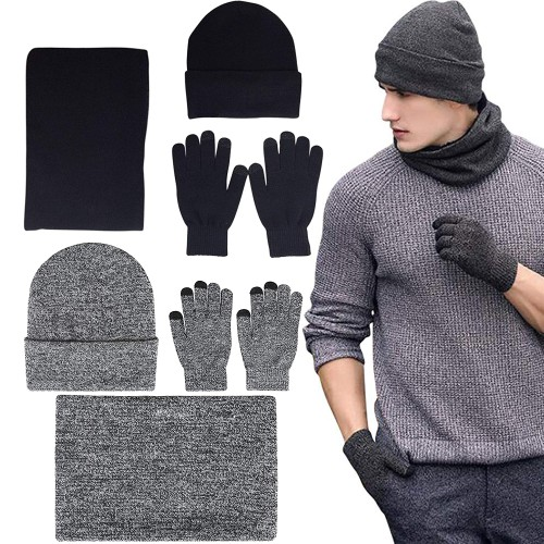 Mens Winter Beanie Hat And Neck Scarf With Warmer Touch Screen Gloves Set