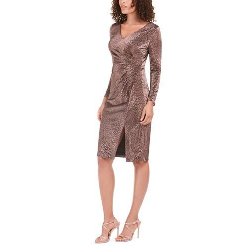 Vince Camuto Women's Metallic Animal-Print Stretch Dress Pink Size 14