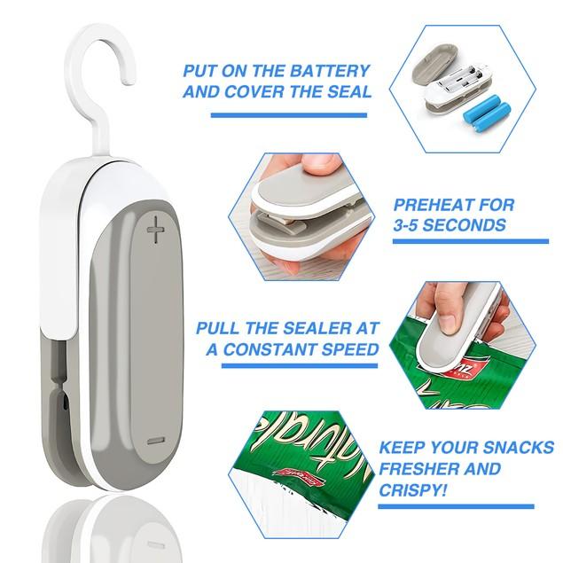 2 PCS Portable 2-in-1 Mini Bag Sealer & Cutter for Plastic Bags Snack Fresh