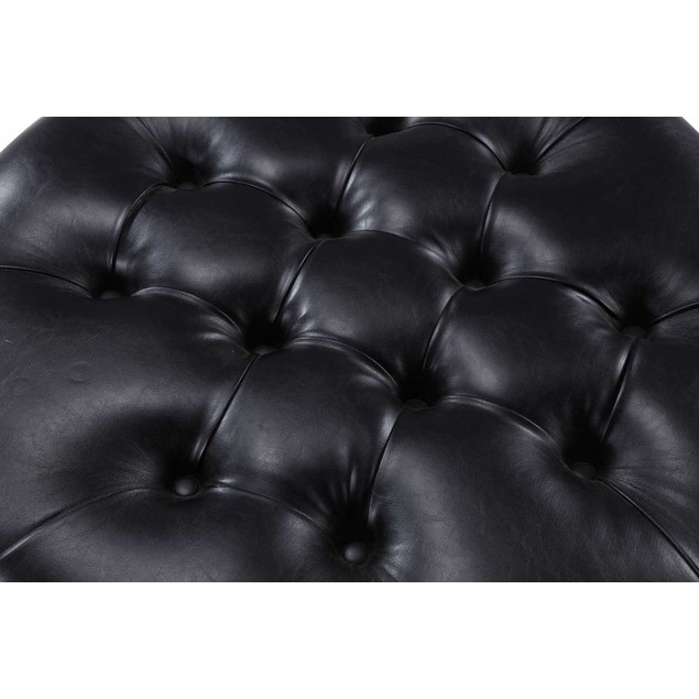 Chic Home Amelia PU Leather Button Tufted Round Ottoman