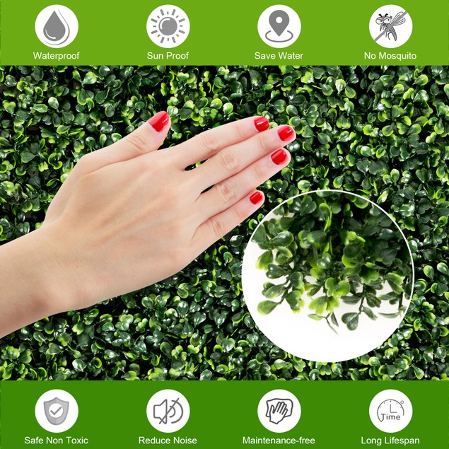 Costway 12 PCS 20''x20'' Artificial Boxwood Plant Wall Panel Hedge Privacy