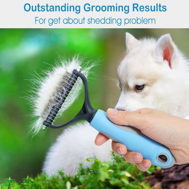 Dog Grooming Rakes 2 Sided Undercoat Rake Pet Dematting Shedding Comb