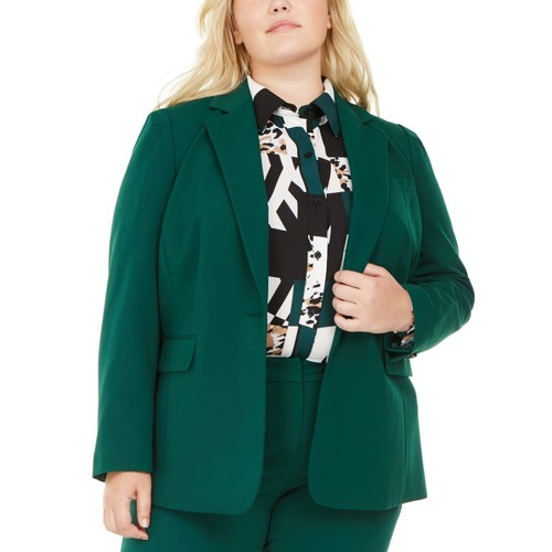 Bar III Women's Trendy Plus Size Stretch Blazer Green Size 24