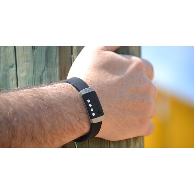 Smart Medical ID & Alert Bracelet - Black with Crystals