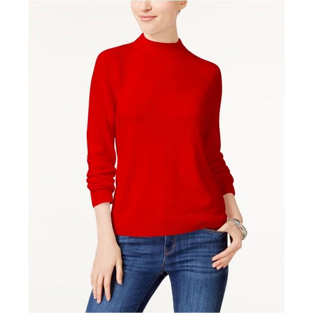 Karen Scott Women's Zip Back Mock Neck Sweater Red Size Extra Large