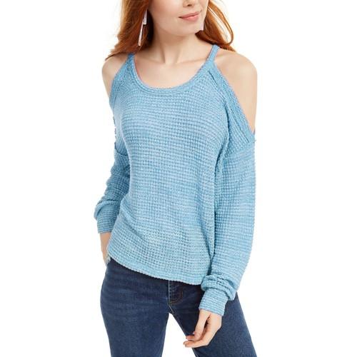 Freshman Juniors Women's Waffle-Knit Cold-Shoulder Top Blue Size Medium