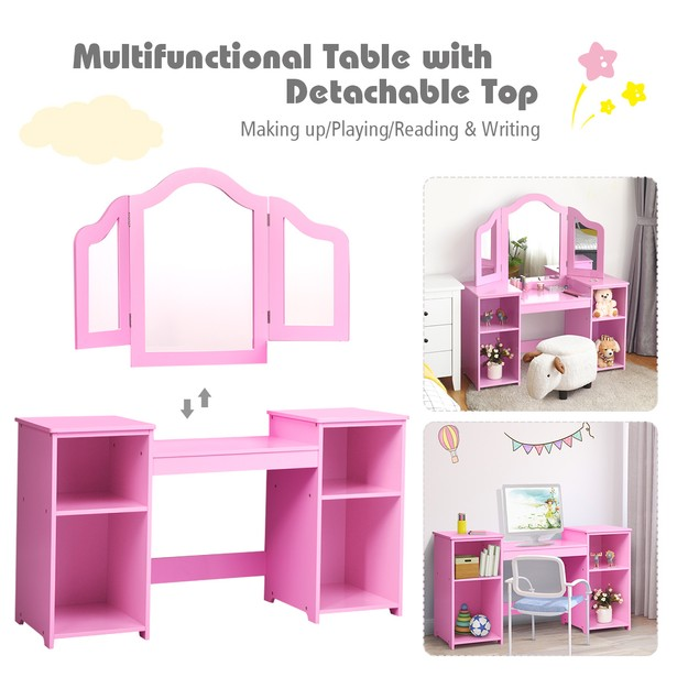 Costway Vanity Table Set Makeup Dressing Kids Girls Study Table Tri Folding