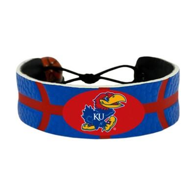 Kansas Jayhawks Team Color NCAA Gamewear Leather Basketball Bracelet