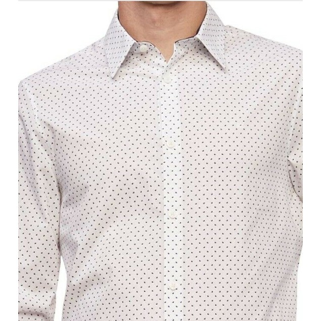 Calvin Klein Men's Geo-Print Classic-Fit Shirt White Size XX-Large