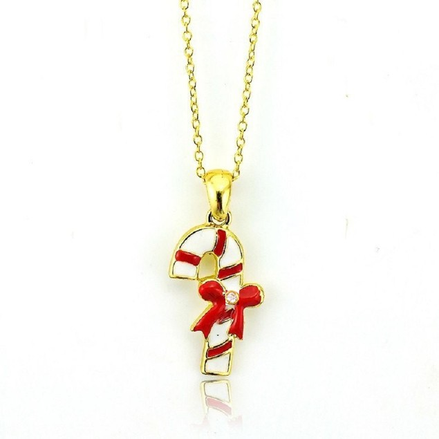 """18K Gold Plated Enamel Candy Kane Charm on a Cable Chain, 16"""" + 2"""" Ext"""