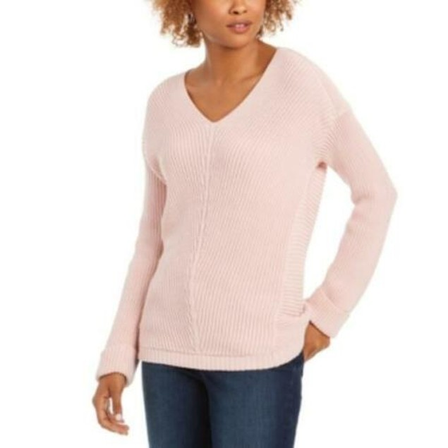 Charter Club Women's Cotton Textured V-Neck Sweater Pink Size Small
