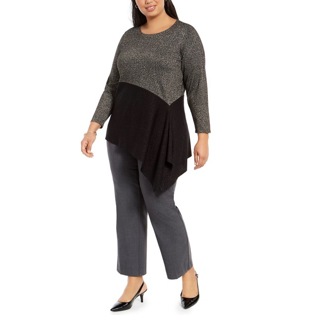 Alfani Women's Plus Size Colorblocked Asymmetrical Sweater Black Size 4X