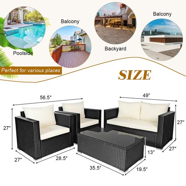 Costway 4-Piece Rattan Wicker Patio Furniture Set