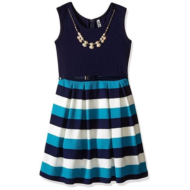 Beautees Big Girls' Skater Dress Solid Top, Stripe Bottom, Jade,  SZ 1