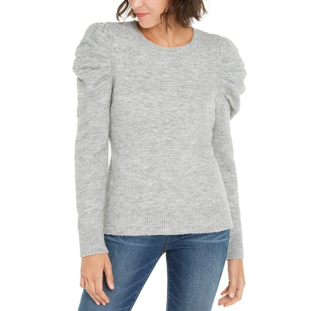 INC International Concepts Women's Puff-Sleeve Sweater Gray Size Large
