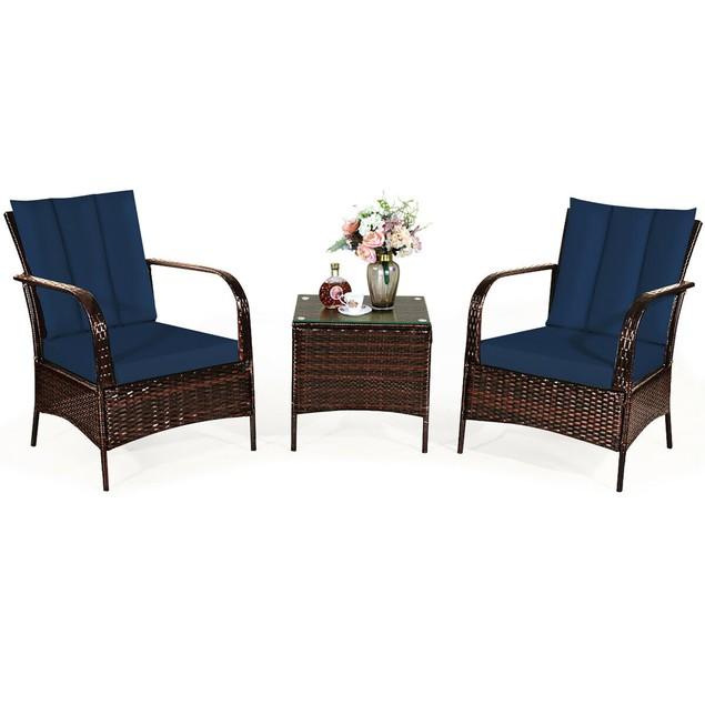 Costway 3 PCS Patio Rattan Furniture Set Coffee Table & 2 Rattan Chair W/Na