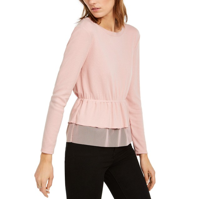 INC International Concepts Women's Tulle Peplum Top Pink Size Large
