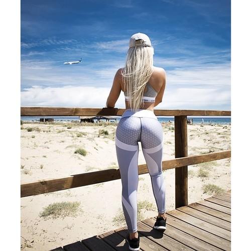 Women's Honeycomb Print Sports Yoga Pants