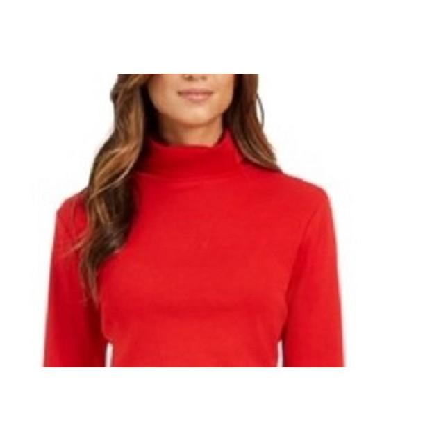 Charter Club Women's Pima Turtleneck Top Medium Red Size X-Large