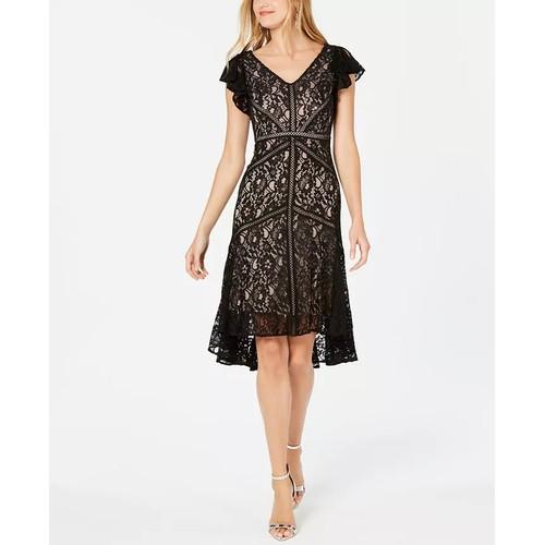 Taylor Women's Petite Flutter-Sleeve Lace Dress Black Size 4P