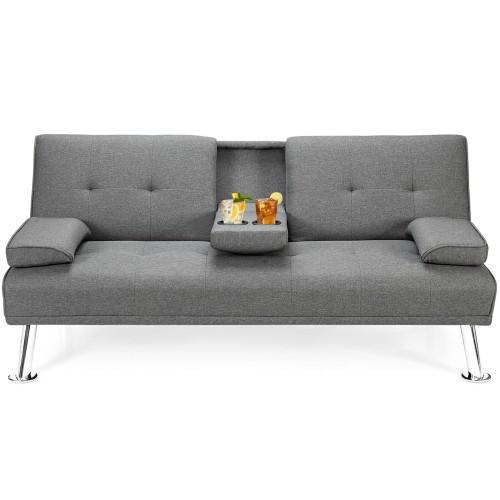 Convertible Folding Futon Sofa Bed Fabric w/2 Cup Holders Light Gray