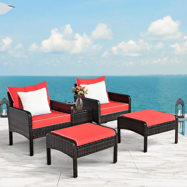 Costway 5 PCS Patio Rattan Furniture Set Sofa Ottoman Table Cushioned Yard