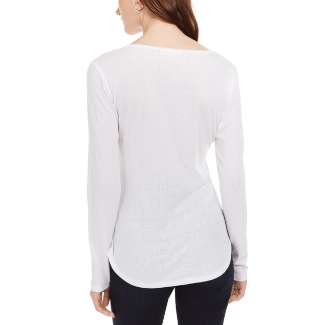 Ultra Flirt Juniors' Pointelle-Knit Henley Top White Size X-Large