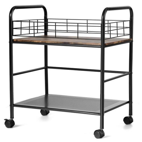 Costway 2-Tier Storage Rolling Cart Trolley W/Lockable Wheels Organizer Met