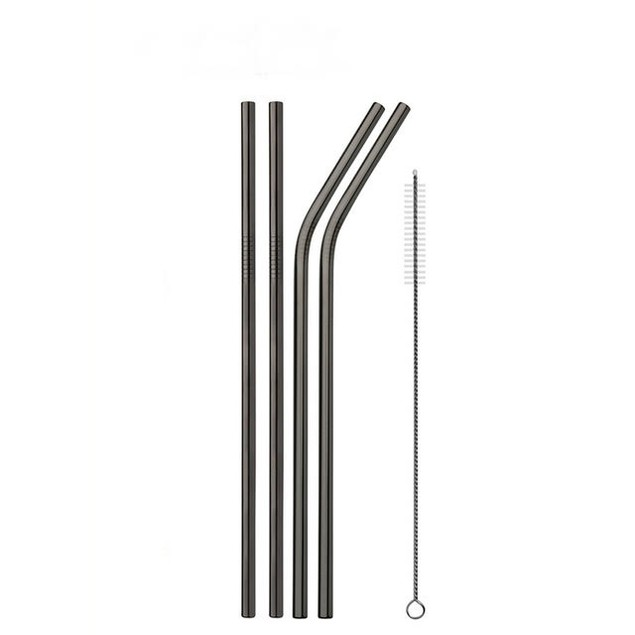 8-Pack Stainless Steel Straws with 2 Cleaning Brushes