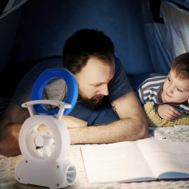 Desk Cooling Fan w/180°Adjustable LED Lamp Baby Stroller Fan