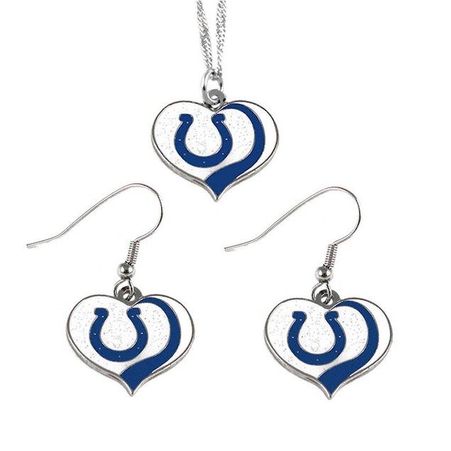 Indianapolis Colts NFL Glitter Heart Necklace and Earring Set Charm Gift