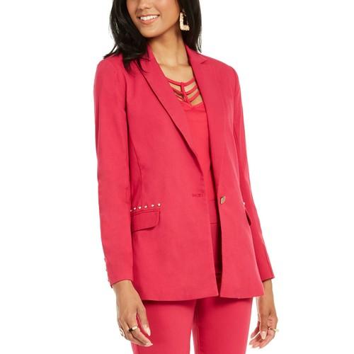 Thalia Sodi Women's Studded-Pocket Blazer Pink Size Small