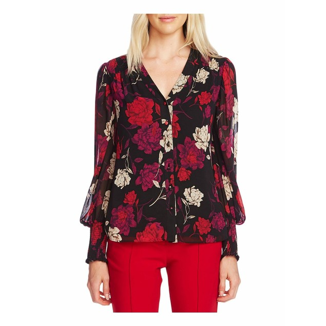 Vince Camuto Women's Enchanted Floral Print Blouse  Red Size Small