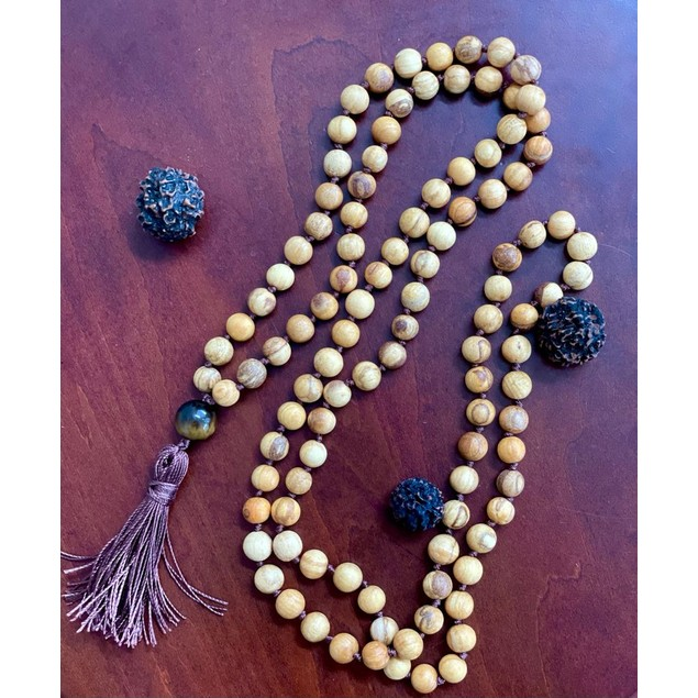 8mm 108 Bead Palo Santo Mala Brown Cord Hand Knotted Mantra Sound Healing