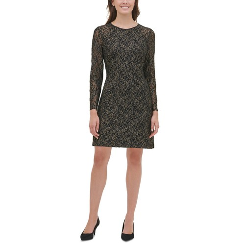 Tommy Hilfiger Women's Metallic Lace A-Line Dress Black Size 12