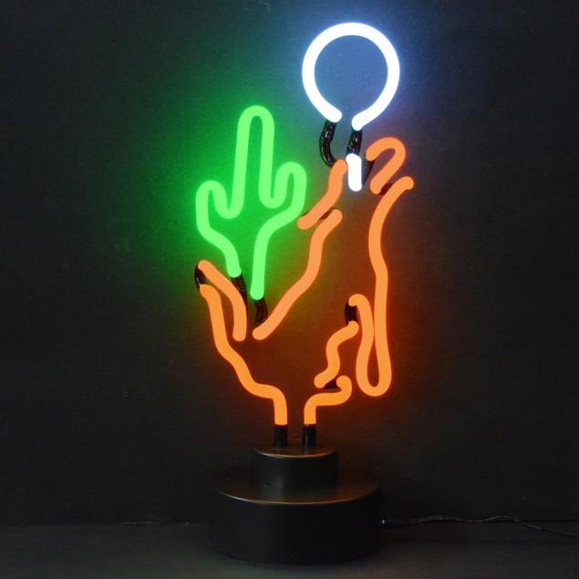 Neonetics Coyote Moon Cactus Neon Sculpture