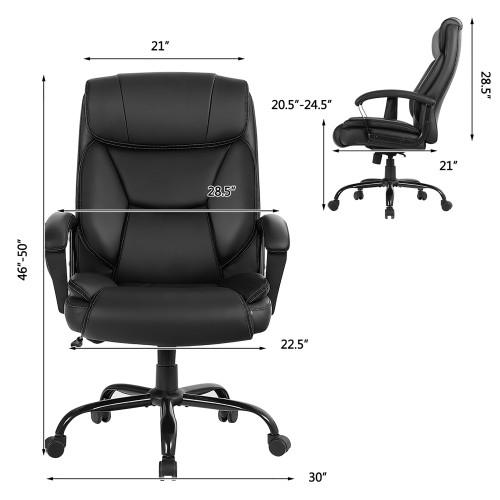 Costway Big & Tall 500lb Massage Office Chair E xecutive PU Leather Compute