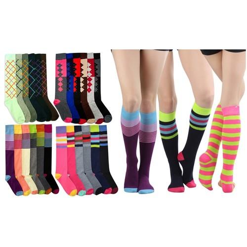 (6 Pack) ToBeInStyle Women's Knee High Socks