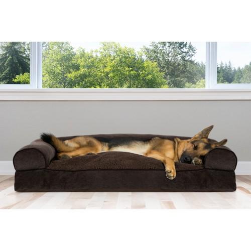 FurHaven Faux Fleece & Chenille Soft Woven Pillow Sofa Pet Bed