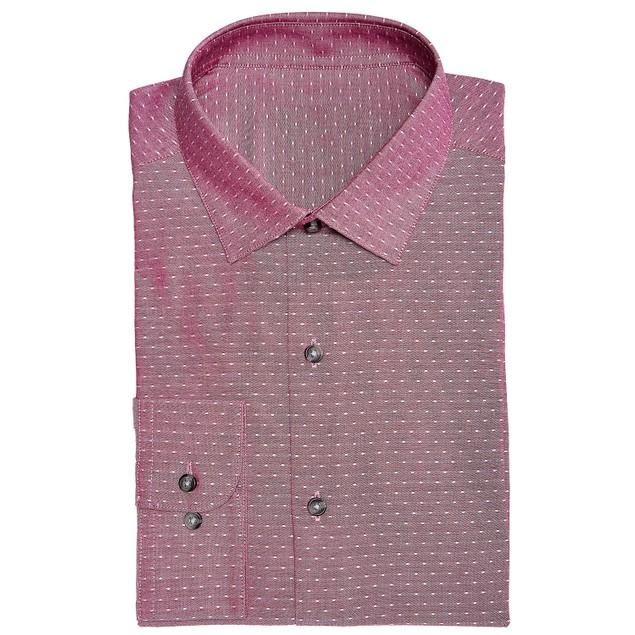 Bar III Men's Easy-Care Large Dobby Dot Shirt Red Size 36-37