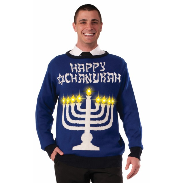 Happy Chanukah Hannukah Light Up Ugly Christmas Sweater Holiday Sweatshirt