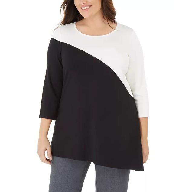 Alfani Women's Plus Size Colorblock Tunic Black Size 2X