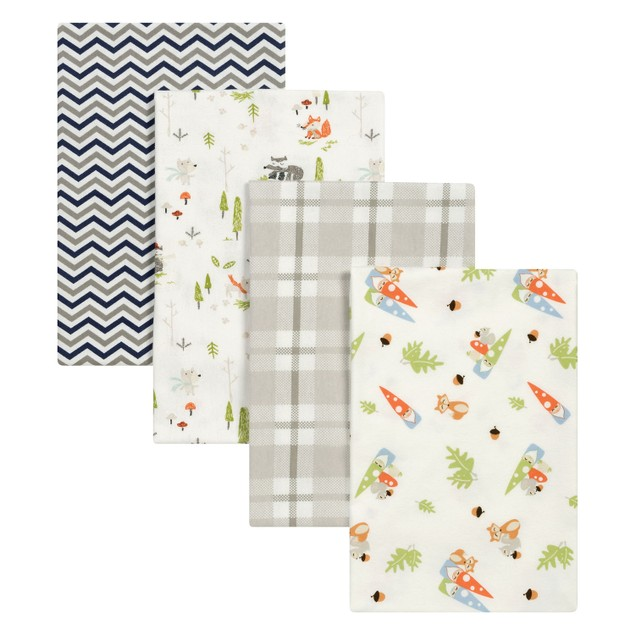 Trend Lab Woodsy Gnomes Flannel Baby Blankets- 4 Pack