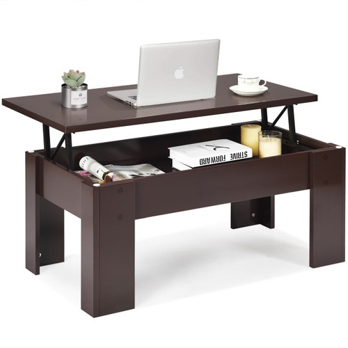 Costway Lift Top Coffee Table Pop-UP Cocktail Table w/Hidden Compartment &