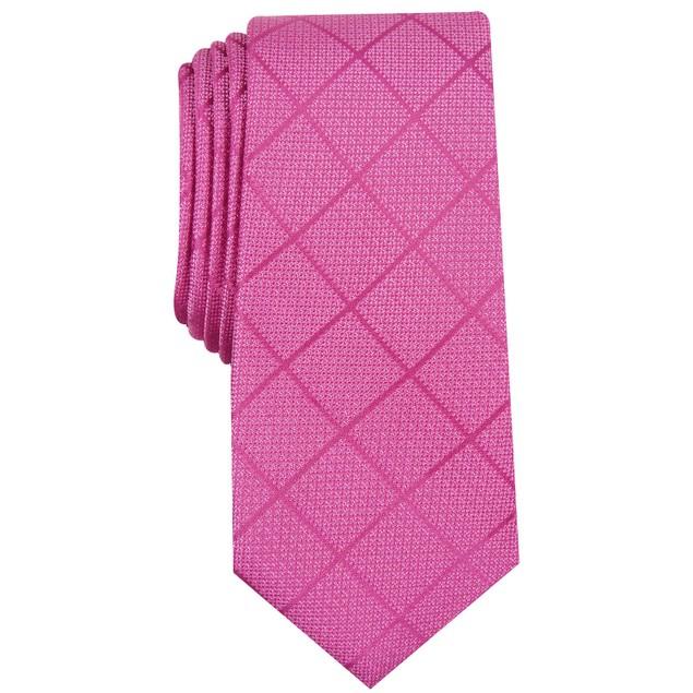 Alfani Men's Windowpane Tie Pink Size Regular