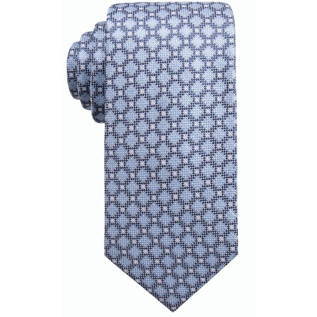 Ryan Seacrest Distinction Men's Bona Neat Slim Tie Blue Size Regular