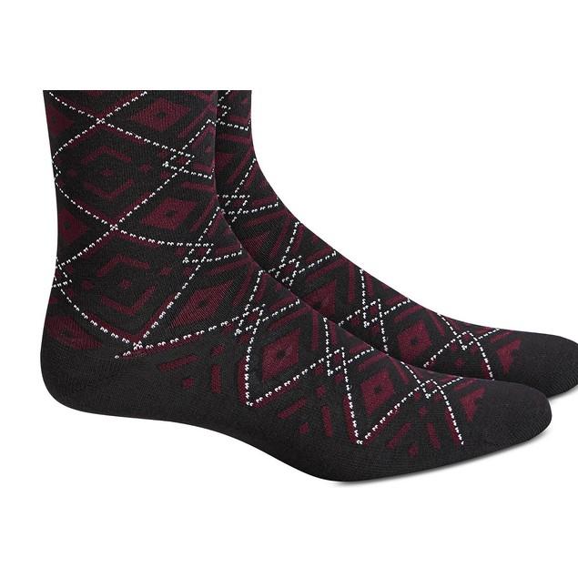 Alfani Men's Ornate Argyle Socks Black Size Regular